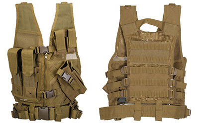 Childrens Youth Size Kids Tactical Cross Draw Vest with Belt & Pouches in Khaki