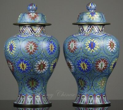 Pair of Huge Antique Chinese Late Qing Republic Period Cloisonné Vases, 52.5 cm