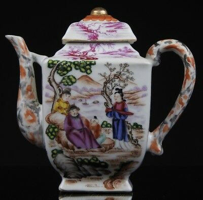 An Antique Chinese 19th C. Famille Rose Square Teapot and Cover