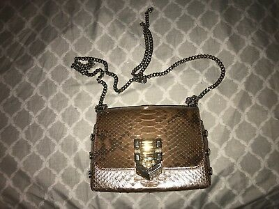 9af121f217 AUTHENTIC JIMMY CHOO LOCKETT PETITE Ballet Pink Glazed Python Shoulder Bag