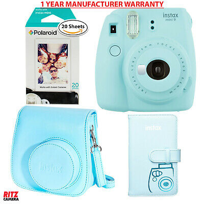 Fujifilm Instax Mini 9 - Ice Blue Camera with Polaroid Film, Case and Album