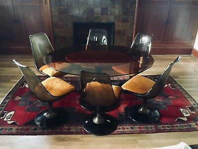Vintage Mid Century Modern Chromcraft Oval Amber Glass Tulip Table w/ Six Chairs
