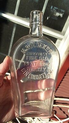 Rare H. Boedeker Cincinnati Fine Old Kentucky Whiskey Coffin Flask Slug Plate