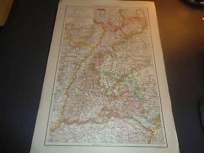 c 1890 Baden, Large, Antique, Colour Map of Grand-Duchy of Baden, Germany