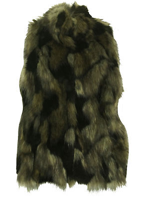 International Concepts Women's Petite Faux Fur Knit Back Vest Black Petite Small
