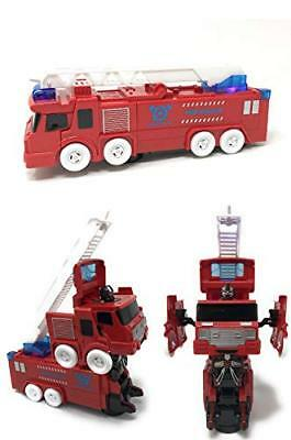Transformer Fire Truck Bump & Go Action Two In One Toy Robot Realistic Firetruck