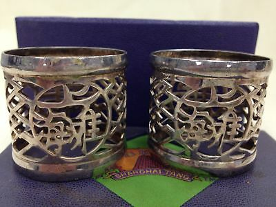 In Original Box SHANGHAI TANG Two Silver Oval NAPKIN RINGS #612