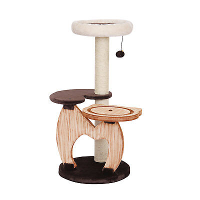 "PetPals Group Rondure Natural Wood Three Level Cat Tree With Perches, 18"" L X 18"