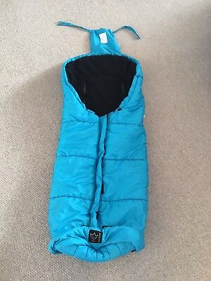 Kaiser extra long thermo fleece pushchair footmuff in Aqua Blue.Central zip.
