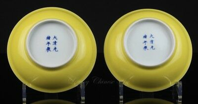 Pair of Old Chinese Guangxu Marked Imperial Yellow Glazed Plates