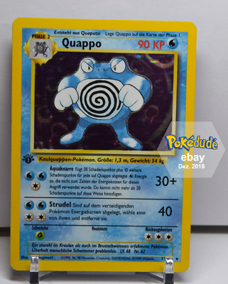 Pokemon Karte | Quappo Holo | Base Set (EX) | 1. Edition PSA 1st Poliwrath Basis