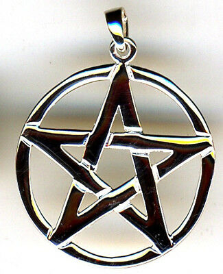 "925 Sterling Silver Large Pentagram in Circle Pendant 38mm 1.1/2"" including bail"