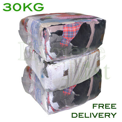 30Kg Bag of Rags Wipers Workshop Engineering Cleaning Wiping Industrial Cloths
