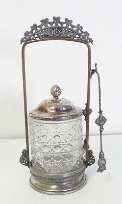 Antique Victorian Silver Plate & Glass Pickle Castor w/ Tongs ~ Free Shipping