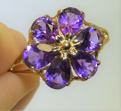 9Ct Amethyst Flower Cluster Ring 9 Carat Yellow Gold Pear Cut  Size P