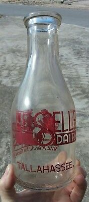 Tallahassee Milk Bottle / Painted Label /Red Print