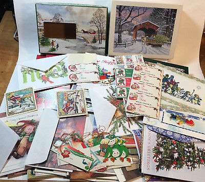 Lot of 80+ Vtg Unused Christmas Cards + To From Tags 80s-90s w/ Envelopes