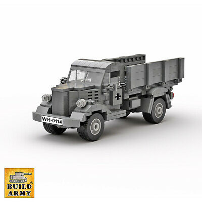 WW2 German Opel Blitz truck MOC set+instruction by Buildarmy® +free Lego panel