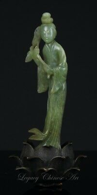 An Antique Chinese 19th C. Finely Carved Jadeite Figure with Metal Stand