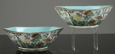 Pair of Antique Chinese 19th C. Famille Rose Bowls