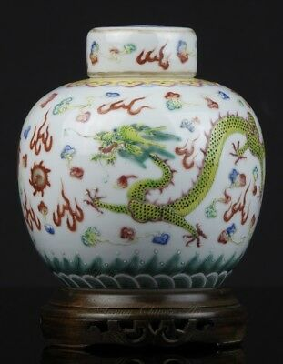 An Antique Chinese Qianlong Marked 19th C. Famille Rose Jar and Cover + Stand