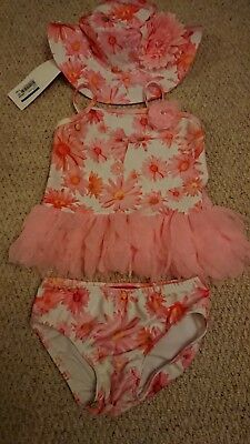 Kate Mack Baby Girls 2 Piece Swimsuit With Matching Hat. Age 24 Months