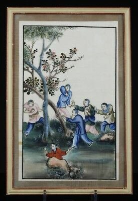 A Finely Painted Antique Chinese 19th C. Pith Rice Paper Painting, #2