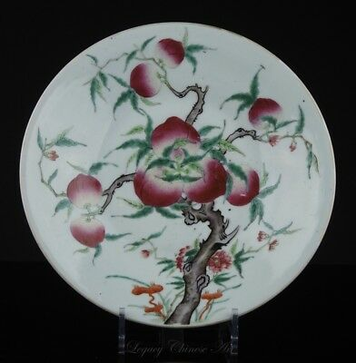 """An Antique Chinese Qianlong Marked Late Qing Republic Period """"Nine Peaches""""Plate"""