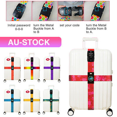 Adjustable TSA Luggage Cross Strap Packing Belt Safe Code-lock Suitcase Buckle