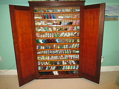 Collection Of 178 Glass And Ceramic Shoes Plus Antique Cabinet