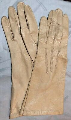 NOS Trimingham's Ivory Kid Leather Gloves Size 7 Silk Lined France New Women's