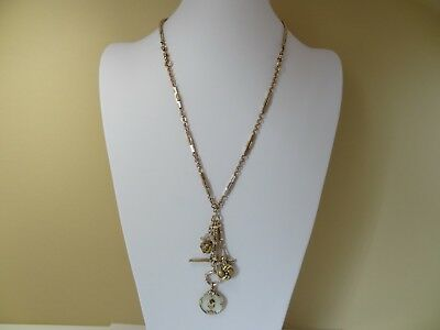 Antique Gold Fill Watch Chain Necklace Mother of Pearl Garnet Scent Spinner Fob