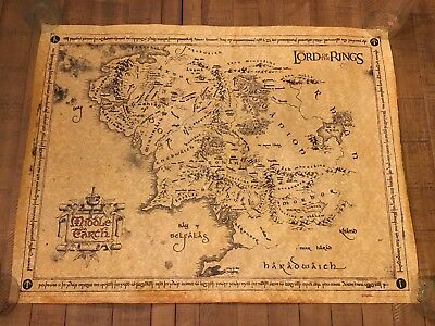 """Large Parchment Map Of Middle Earth 23.5"""" X 31"""" - Lord Of The Rings"""