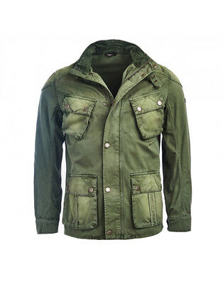 Barbour International Mens Rumble Casual Military Green Jacket, Large
