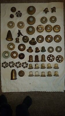50 ANTIQUE Vintage HANGING LAMP Light Fixture OLD PARTS PIECES, BRASS CAST IRON