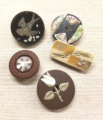 5 Antique / Vintage Mop Inlay Buttons, Floral, Bird, Glass, Plastic, Horn