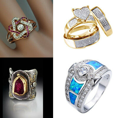 Women Men 925 Silver Zircon Crystal Ring Wedding Bridal Band Rings Jewelry Party