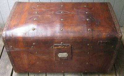 Antique 19th Century Tooled Full Leather Crouch & Fitzgerald Travel Trunk Chest