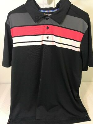 St. Andrews of Scotland Mens Sz XL Black Pink Striped Golf Polo Shirt Casual Top