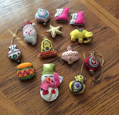 Lot Of Twelve Vintage Felt Ornaments (Quite Old)