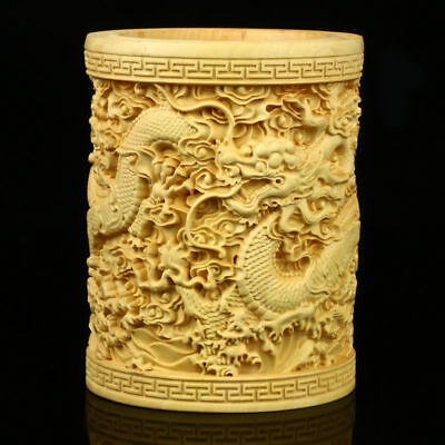 Chinese Exquisite Hand Carved Dragon Carved Boxwood Brush Pot  GLAFM0097