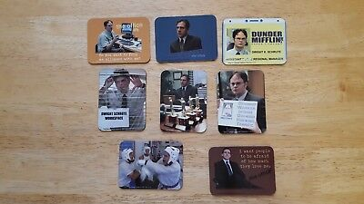 Lot of 8 -THE OFFICE~ Dunder Mifflin Magnetic Cards Lot #2