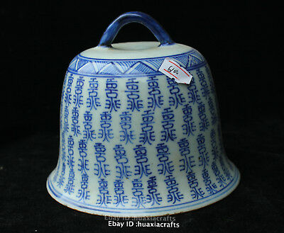 """5.2"""" antique China Old Blue and White Porcelain bell Pottery Sculpture HFFH"""