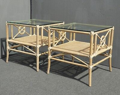 Pair of Two Vintage McGuire Furniture Bamboo Rattan Glass Top End Tables