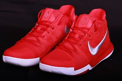 66bde1820623 Nike Mens Kyrie 3 University Red Wolf Grey Basketball Shoes 852395 601 Sz 11