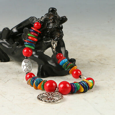 Chinese Natural Red Coral & Tibet Silver Handwork Bracelet  RS022+a