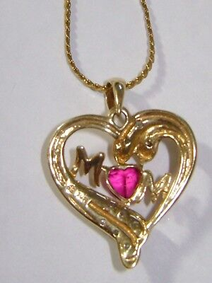 10kt. GOLD MOM HEART WITH DIAMONDS AND RED STONE  AND  NECKLACE MUST L@@K
