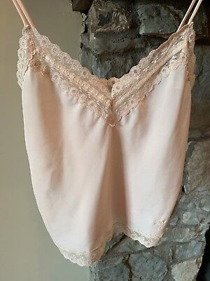 Vintage Christian Dior camisole nude small lingerie with lace and ribbon