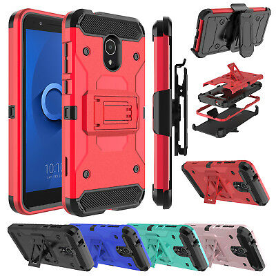 For Alcatel TCL LX A502DL Phone Case [Kickstand Series] Holster Shockproof Cover