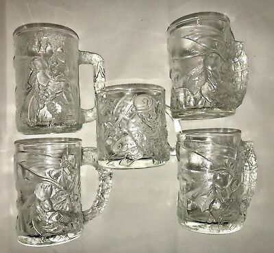 Batman Forever Movie Glass Mugs from McDonald's 1995 - 5 Mugs